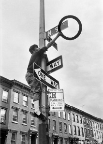 "Martha Cooper's original photograph from ""Street Play"" that inspired the mural ""Sign Language."""