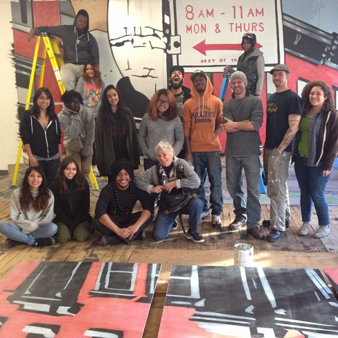 Martha Cooper with Cre8tive YouTH*ink's arts apprentices. Photo: Mista Oh